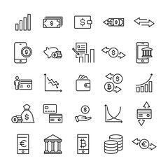 Simple collection of investments related line icons.