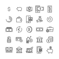 Modern outline style finance icons collection