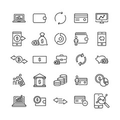 Set of premium finance icons in line style.