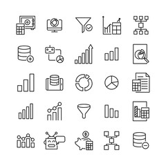 Premium set of data analytics line icons