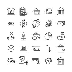 Modern outline style money icons collection.