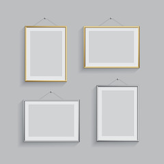 Golden and silver picture or photo frames in different positions isolated on grey background. Vector frame set.