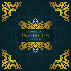 Invitation with a gold decoration on seamless background. Vintage style
