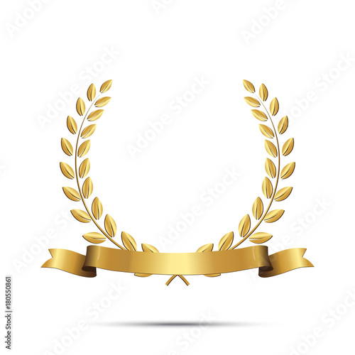 Quot Golden Laurel Wreath With Ribbon Isolated On White