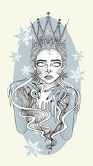 The Snow Queen - Tattoo Art - Stylized Vector Illustration - Winter Card design