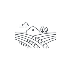 Farmhouse on the field line icon. Outline illustration of landscape, vector linear design isolated on white background. Farm logo template, element for agriculture business, line icon object.