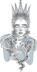 The Snow Queen - Tattoo Art - Stylized Vector Illustration