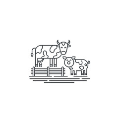 Farm cows line icon. Outline illustration of two cows vector linear design isolated on white background. Farm logo template, element for agriculture business, line icon object.