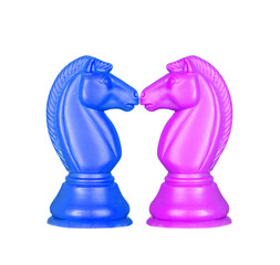 Blue and pink knights face to face