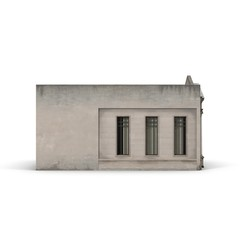 Classic Building with Columns on a white. Side view. 3D illustration