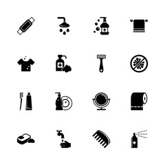 Hygiene Fight icons - Expand to any size - Change to any colour. Flat Vector Icons - Black Illustration on White Background.