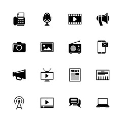 Media icons - Expand to any size - Change to any colour. Flat Vector Icons - Black Illustration on White Background.