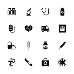 Medical icons - Expand to any size - Change to any colour. Flat Vector Icons - Black Illustration on White Background.
