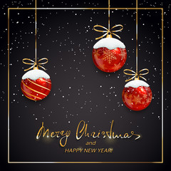Merry Christmas and Happy New Year with red balls and snow on black background