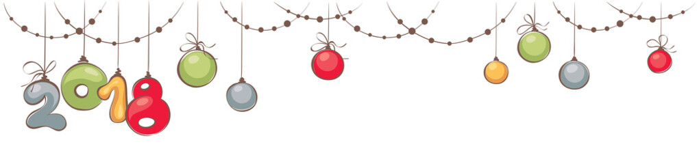 New year's 2018 and Christmas decorations / Horizontal narrow banner with beads and balls