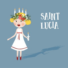 Little blonde girl with floral wreath and candle crown, Saint Lucia. Swedish Christmas tradition, vector illustration background, flat design.