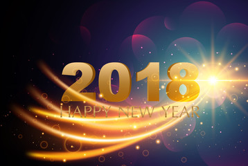 Happy New Year 2018  Greetings Card or Christmas theme On Light Background.