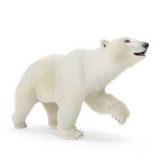 Large male Polar bear walking on a white. 3D illustration