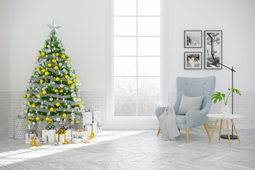 Christmas tree decorate on Scandinavia of living room ,blue armchair on white  wall and wood floor ,in holidays,3d rendering