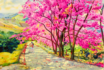 Painting watercolor landscapem of Wild himalayan cherry.