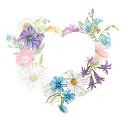 Beautiful  botanical frame of watercolor wildflowers