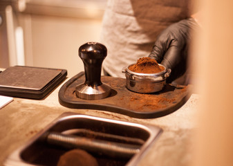 Tamping Espresso Shot with Hand