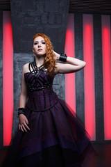 Mystic photo of ginger girl in black dress