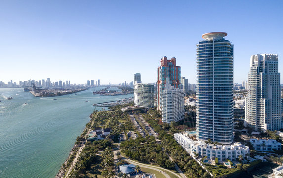 Miami South Pointe skyscrapers and ocean - Aerial view