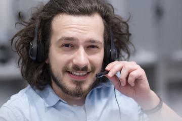 male call centre operator doing his job
