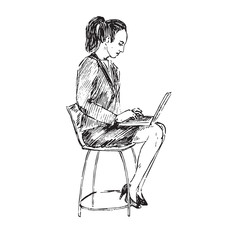 Businesswoman sitting on chair and working with laptop,  hand drawn doodle, sketch in pop art style, black and white vector illustration