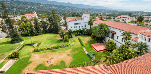 Santa Barbara buildings aerial view, California