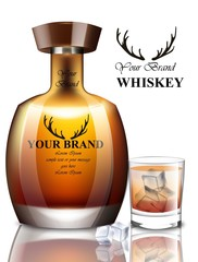 Whiskey realistic bottle Vector. Product packaging brand design. Place for text