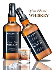 Whiskey realistic bottle Vector. Product packaging brand design. Place for texts