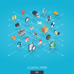 Logistic integrated 3d web icons. Digital network isometric interact concept. Connected graphic design dot and line system. Abstract background for warehouse, storage, shipping delivery and