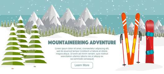 Ski, snowboard equipment, Swiss Alps, fir trees, falling snow, mountains panoramic background, flat vector illustration. Ski resort season is open. Winter web banner design.