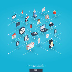 Office work integrated 3d web icons. Digital network isometric interact concept. Connected graphic design dot and line system. Abstract business background for teamwork, workspace. Vector Infograph