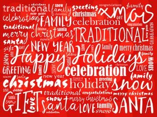 Happy Holidays and Happy New Year. Christmas background word cloud, holidays lettering collage
