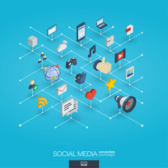 Social Media integrated 3d web icons. Digital network isometric interact concept. Connected graphic design dot and line system. Background for market service, communicate and share. Vector Infograph