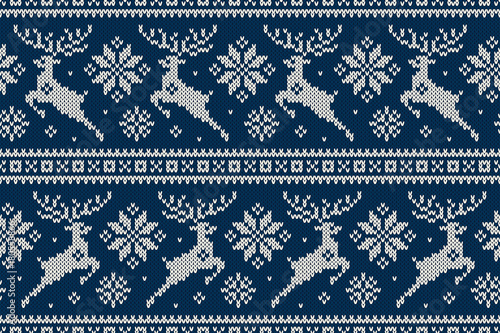Winter Holiday Seamless Knitting Pattern With Christmas Reindeer And