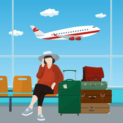 Waiting Room at the Airport with Woman, Passenger with Luggage on the Background of a Window with a Flying Airplane, Vector Illustration