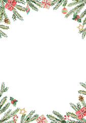 Watercolor vector Christmas card with fir branches and place for text.