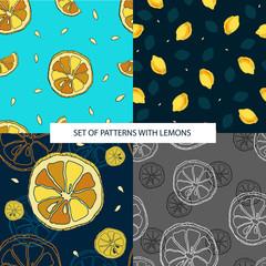 Set of seamless pattern with lemons. Vector. Illustration
