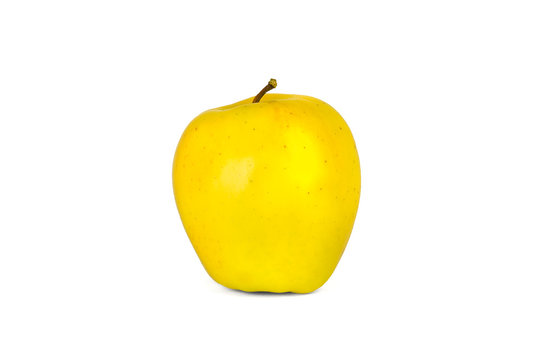 a group of yellow apples isolate on a white background