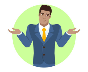 I don't know. Businessman with an I don't know gesture