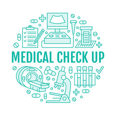 Medical check up poster template. Vector flat line icons, illustration of medical center, health care equipment, mri, ultrasound, blood test, microscope. Healthcare, diagnostics clinic banner.