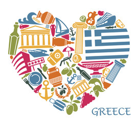 Symbols of Greece in the form of heart