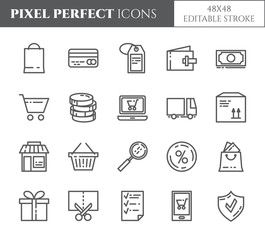 Shopping theme pixel perfect thin line icons. Set of elements of bag, credit card, shop, delivery, cash, wallet, cart, sticker and other purchases pictograms. Vector.