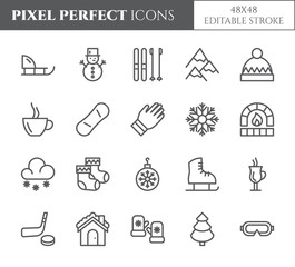 Winter vacation theme pixel perfect thin line icons. Set of elements of snow, mountains, skis, skates, sleigh, tree, clothes, hot drinks, other winter holidays related pictograms. Vector.