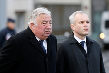 French National Assembly speaker Francois de Rugy and French Senate speaker Gerard Larcher during a ceremony marking the second anniversary of the Paris attacks