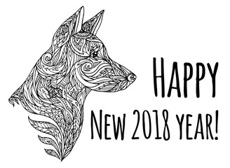 Greeting card with Doodle illustration of a dog head with a tribal pattern. New Year of Dog. Vector element for tattoos, printing on t-shirts, postcards and your design